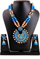 Adaa Handmade Tribal Design Jewellery Terracotta Jewel Set Multicolor