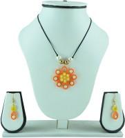 Ekolhapuri Petals With Moti Pendant Paper Jewel Set Multicolor