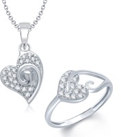 VK Jewels VK Jewels Exclusive Heart Shape Combo Ring & Pendant Alloy Jewel Set (Silver)