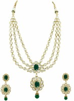 The Art Jewellery Green Colored Three Line Oval Reverse AD Necklace Set Brass Jewel Set Green