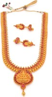 Alankruthi Antique Golden Stone Studded Traditional Temple Theme Copper Jewel Set Gold