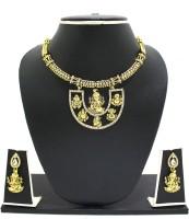 Zaveri Pearls Temple Necklace Zinc Jewel Set Gold, White