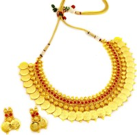 OYE KUDIYE Fantastic Double Layered Ruby Beads Necklace Brass, Copper Jewel Set (Red)