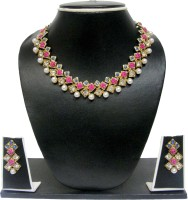 Zaveri Pearls Cubical Stylish Modern  Zinc Jewel Set Pink, Blue, White