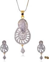 Lazreena Designer Gold Plated Brass, Stone Jewel Set Gold