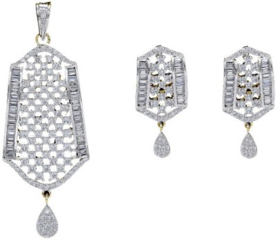 Shree Ambica Pearls & Jewellers Silver Cz Pendant With Earrings Alloy Jewel Set available at Flipkart for Rs.1971