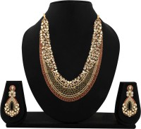 Zaveri Pearls Bridal Necklace Alloy Jewel Set (Red, White, Green)
