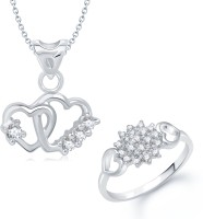 VK Jewels VK Jewels Art Of Love Heart Shape Combo Ring & Pendant Alloy Jewel Set (Silver)