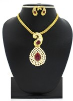 Zaveri Pearls Floral Designer Ruby & Pearl Beads Pendant Zinc Jewel Set Red