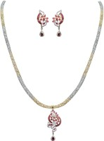 Jpearls Modern Silver Jewel Set Red