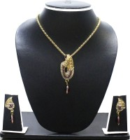 Zaveri Pearls Pearl Beads Pendant Zinc Jewel Set Red