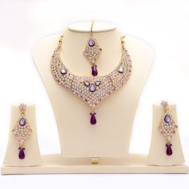 Manukunj Gold Plated Kundan Necklace With Matching Maang Tikka Brass Jewel Set - Purple