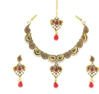 Zaveri Pearls Antique Indian Alloy Jewel Set Gold, Red, White