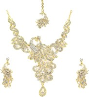 Zaveri Pearls Shimmering Peacock Necklace Zinc Jewel Set Gold