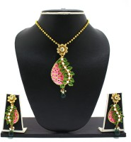 Zaveri Pearls Matte Finish Hand Painted Phool Baati Pendant Zinc Jewel Set Multicolor