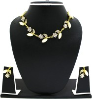 Zaveri Pearls Flower Leaf Necklace Set Zinc Jewel Set Gold, White