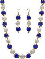 Hyderabad Jewels HYDERABAD JEWELS FANCY PEARL NECKLACE SET Silver, Alloy Jewel Set Blue, White