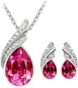 Cyan Pink Austrian Crystal Necklace Set With Crystal Earrings Alloy Jewel Set - Pink