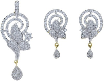 Shree Ambica Pearls & Jewellers Silver Cz Pendant With Earrings Alloy Jewel Set available at Flipkart for Rs.1617