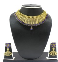 Zaveri Pearls Beautifully Carved Antique Alloy Jewel Set Gold, Blue