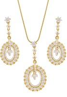 Sempre Of London Designer Circle Leaf Alloy Jewel Set Gold
