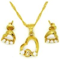 London Jewels Heart Pendant Brass, Copper Jewel Set