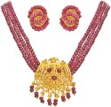 Surat Diamond Real Ruby and Gold Plated Metal Jewel Set - Red, Gold