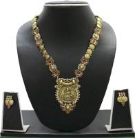 Zaveri Pearls Laximi Necklace Zinc Jewel Set Red