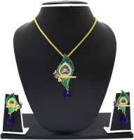 Zaveri Pearls Attractive Peacock Feather Zinc Jewel Set Green, Gold