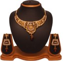 Vendee Fashion Wedding Wear Diamond Necklace (4726) Alloy Jewel Set - Brown, Gold