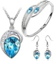 Cyan Ocean Blue Austrian Crystal Leaf Design Necklace Set Combo With Crystal Earrings And Elegant Crystal Bracelet Alloy Jewel Set - Blue