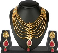 VK Jewels VK Jewels Seven String Gold Plated Necklace With Earrings Brass Jewel Set (Gold)