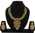 Zaveri Pearls Temple Jewellery Alloy Jewel Set - Red, Green, White
