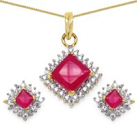 Silver Selection 11.93 Grams Pink Glass & White Cubic Zirconia Gold Plated Brass Brass Jewel Set (Pink)