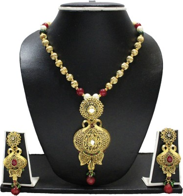 Zaveri Pearls Antique Traditional Zinc Jewel Set Red, White