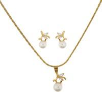 Classique Designer Jewellery Pearl With CZ Stones Alloy Jewel Set Gold