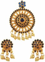 The Art Jewellery South Indian Style Blue Rajwadi Brass Jewel Set Blue