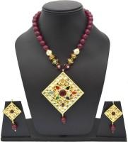 Swarna Neckpiece With Kite Shaped Big Navratan Pendant For Women Stone Jewel Set Red, Gold