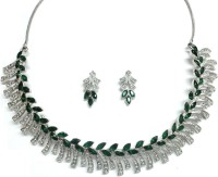 Sempre Of London Green Leaf Alloy Jewel Set Silver