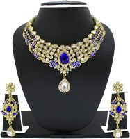 Zaveri Pearls Lavishing Necklace Zinc Jewel Set Blue, White