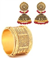 GoldNera Antique Red Bead Jhumki & Big Cuff Combo Alloy Jewel Set Gold