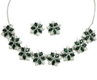 Sempre Of London Green Sensation Alloy Jewel Set Silver