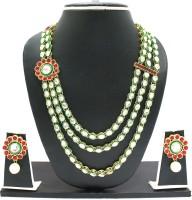 Zaveri Pearls Classic Kundan Three Layer Necklace Alloy Jewel Set Red, Green, White