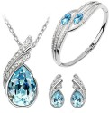 Cyan Ocean Blue Austrian Crystal Necklace Set Combo With Crystal Earrings And Elegant Crystal Bracelet Alloy Jewel Set - Blue