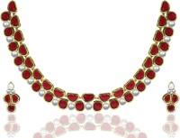Zaveri Pearls Zinc Jewel Set Red, White, Gold