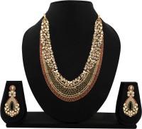 Zaveri Pearls Kundan Necklace Set Zinc Jewel Set Red