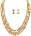 Jpearls .com 3 Strings Golden Peach Pearl Mother Of Pearl Jewel Set