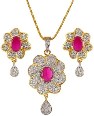 Alloy Gemswan Alloy, Brass, Copper Jewel Set (Multicolor)
