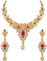 Voylla Necklace Set With Floral Motif Embellished With CZ And Pink Colored Stones Alloy Jewel Set Gold