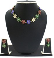 Zaveri Pearls Colors Beads Flower Necklace Zinc Jewel Set Blue, Green, Red, White